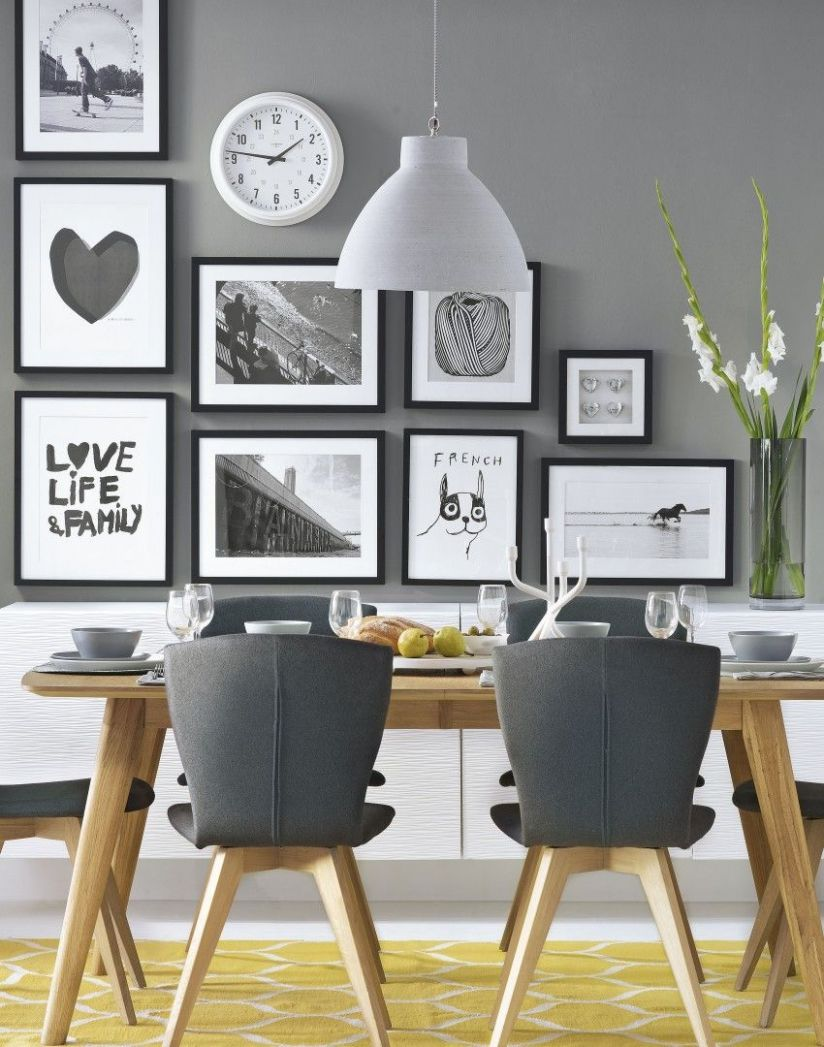 Grey modern dining room with wonderful wall decor Follow Adorable ..