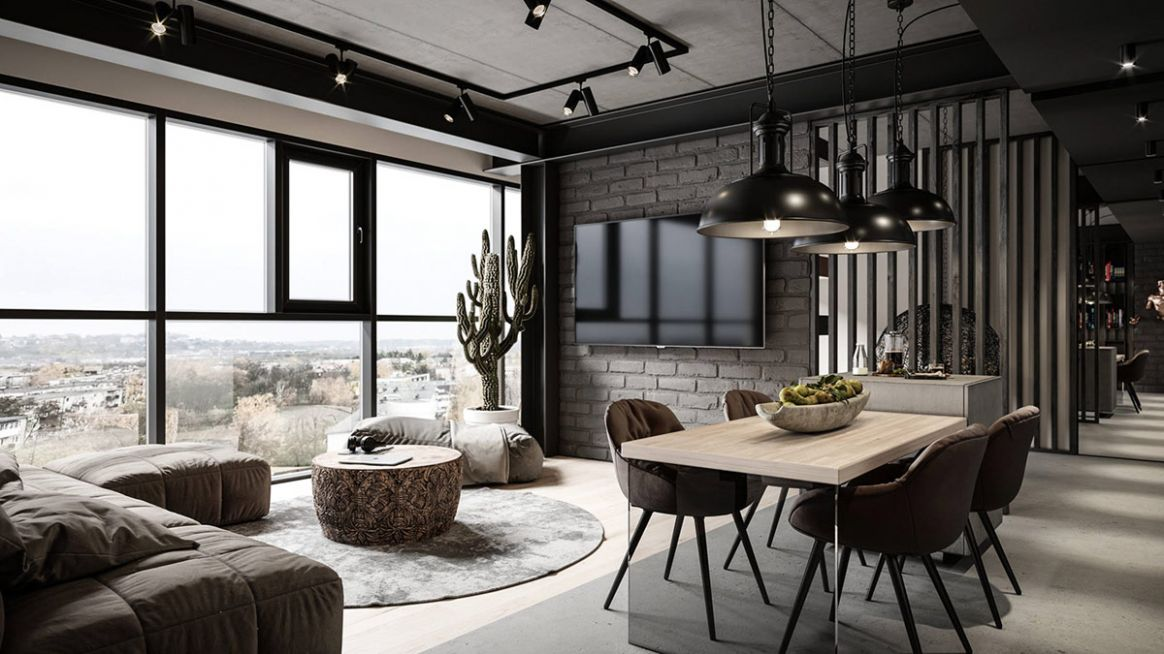 Grey Modern Industrial Apartment Interiors - industrial apartment decor ideas