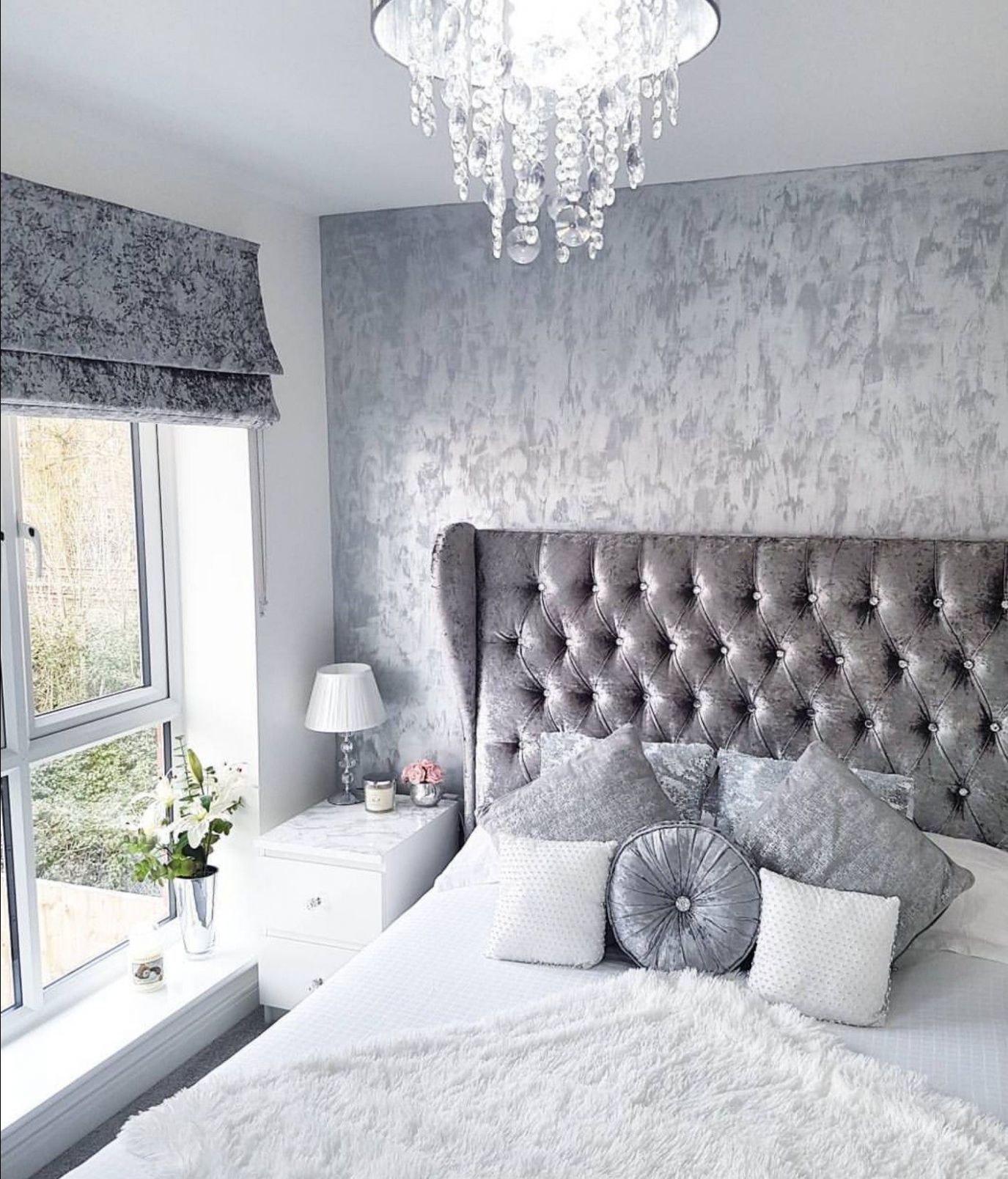 Grey, silver, white crushed velvet bedroom. Modern decor. Inspo ...