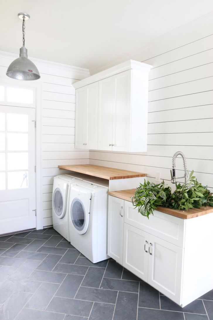 Guide to Shiplap Walls | Laundry in bathroom, Laundry room tile ..