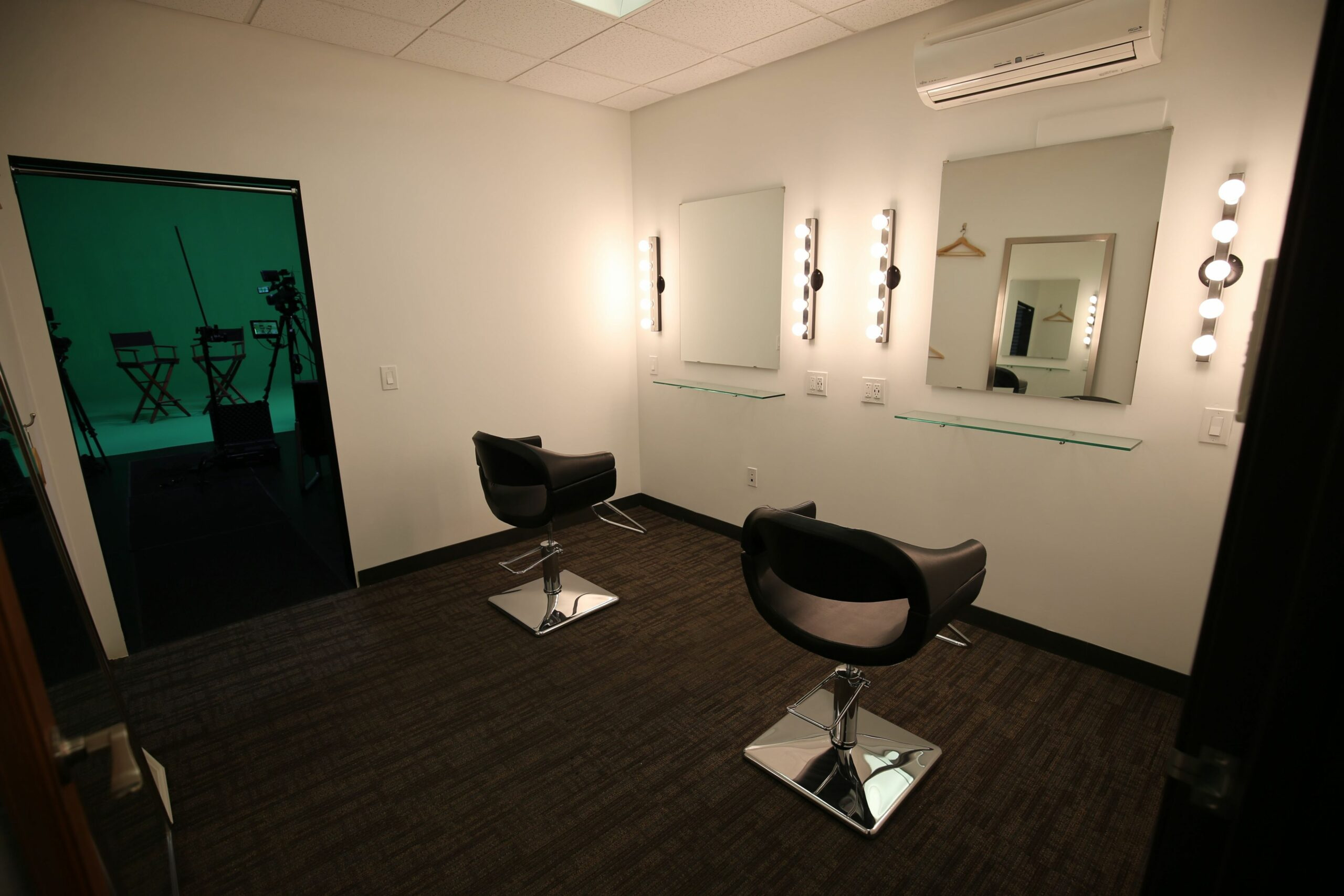 Hair and make-up room next to our green room. Access is ..