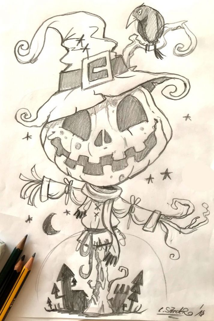 Halloween Drawing - 9 Picture Ideas | Halloween drawings ..