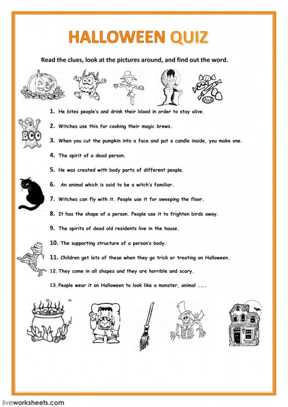 Halloween interactive and downloadable worksheet. You can do the ..