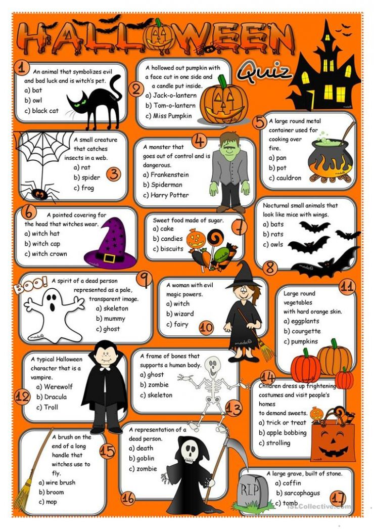 Halloween quiz - English ESL Worksheets for distance learning and ...