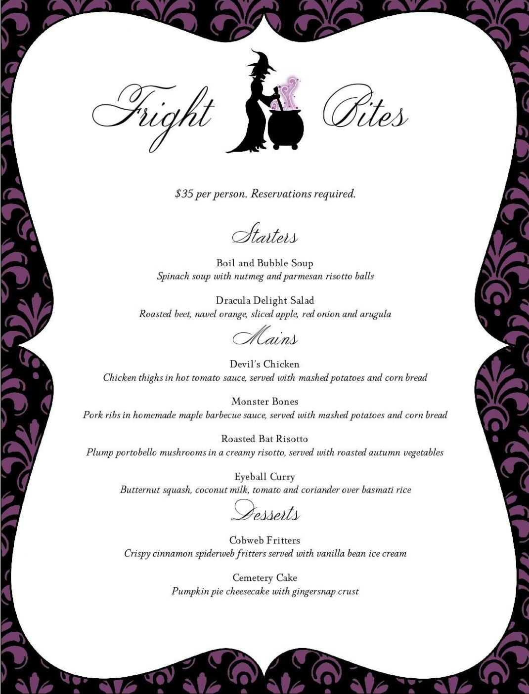 Halloween Restaurant Menu - MustHaveMenus | Halloween dinner party ...