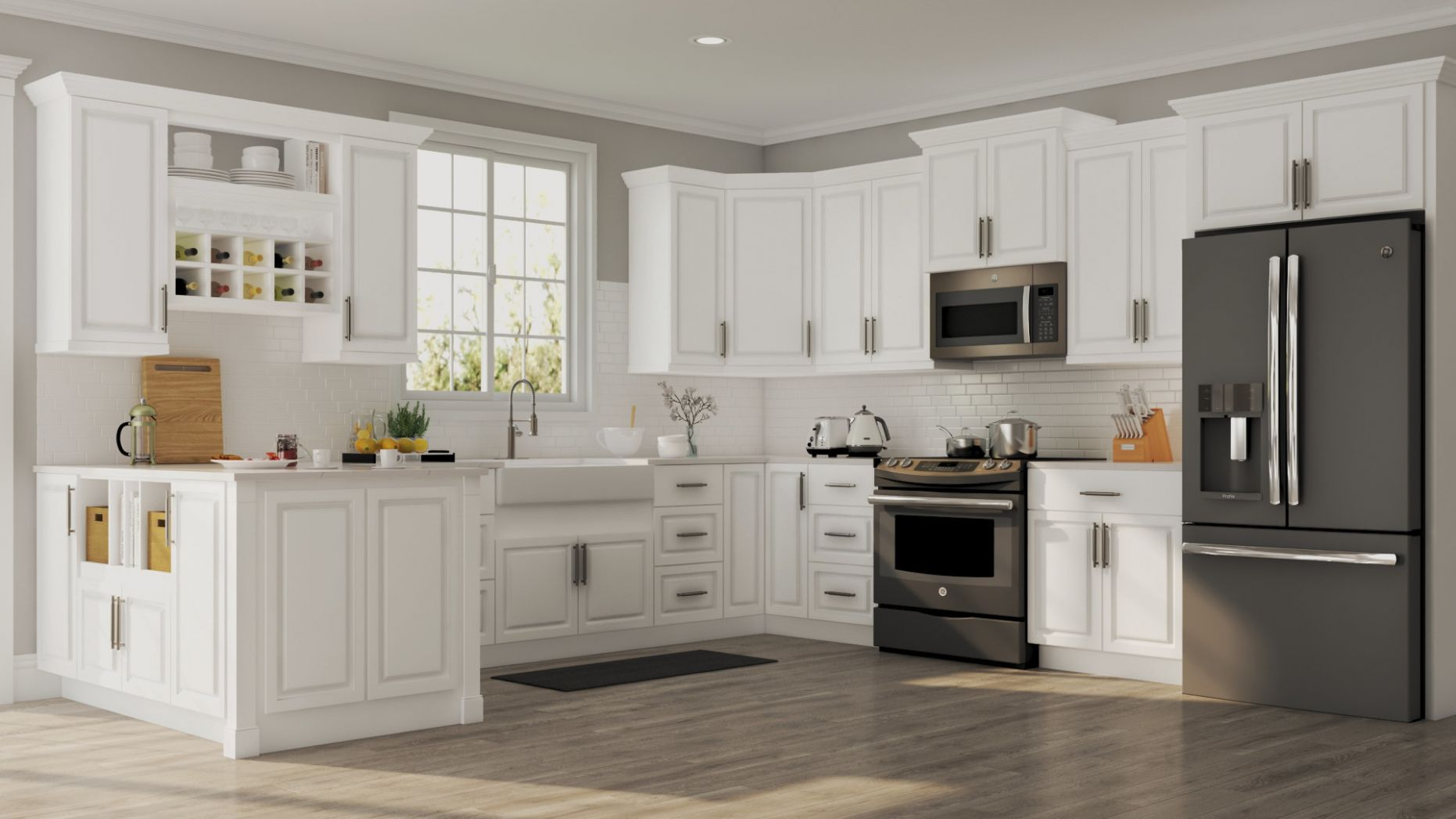 Hampton Wall Cabinets in White – Kitchen – The Home Depot - kitchen ideas home depot