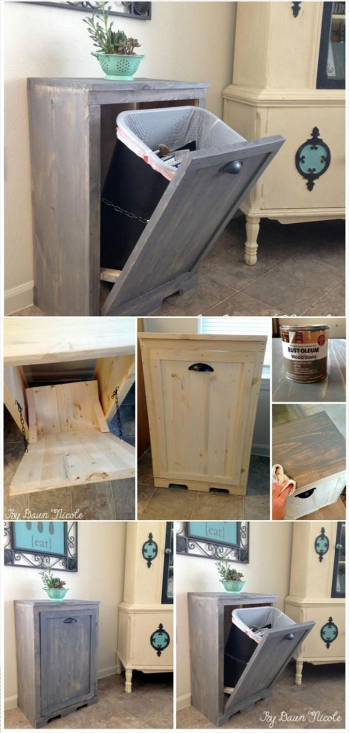 Hand-built wooden Tilt-out Trash Can Cabinet - 12 Genius DIY Home ...