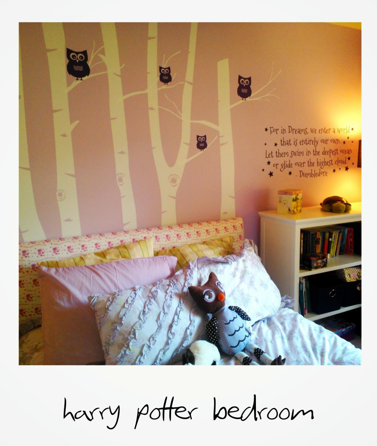 Harry Potter girl's bedroom. Combination of Etsy for wall decals ...