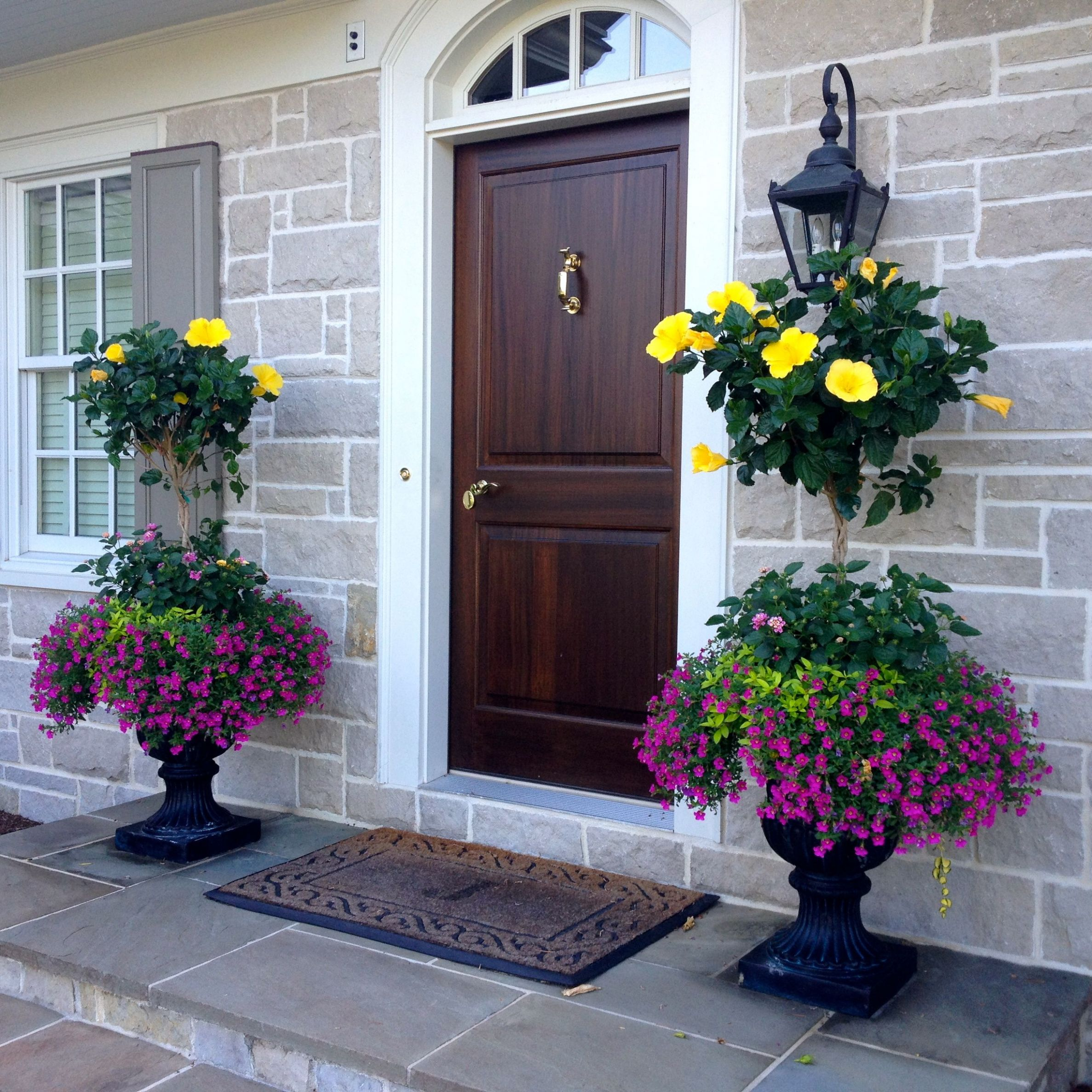 Hibiscus planters … (With images) | Porch flowers, Front porch ..