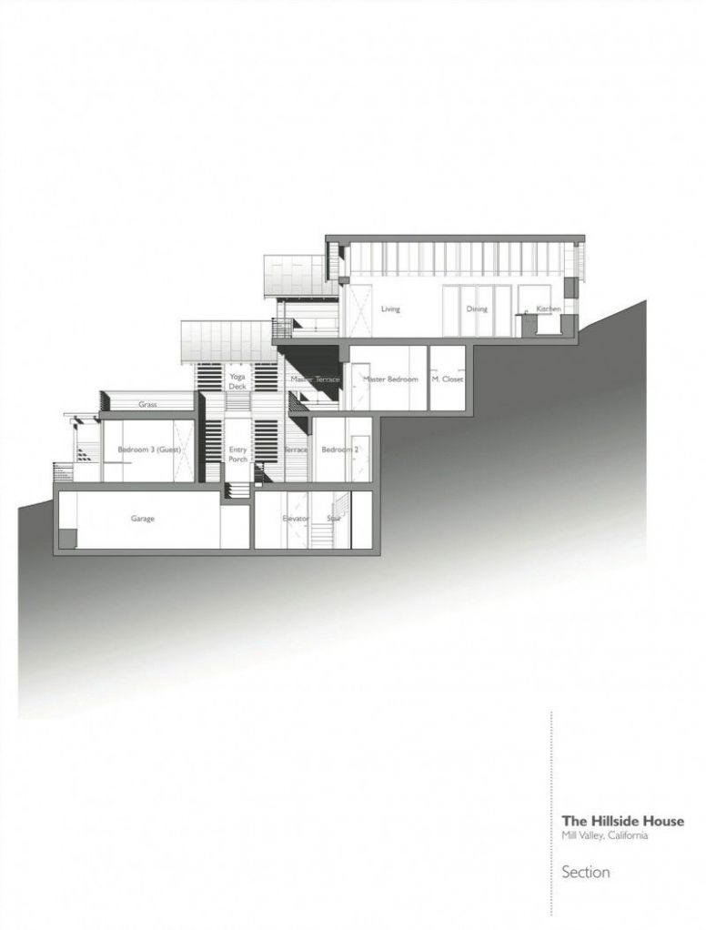 Hillside House by SB Architects | Sloping lot house plan, Hillside ...