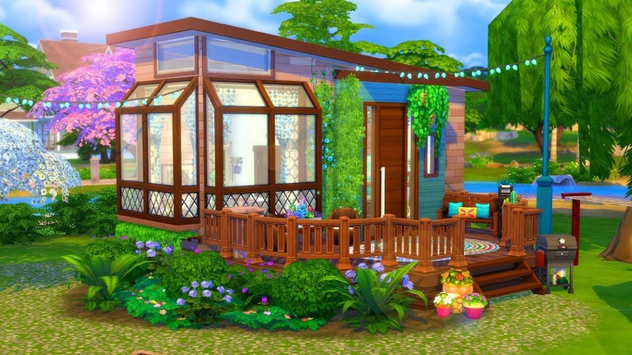 Hippie Tiny House // Sims 11 Speed Build (With images) | Sims house ...
