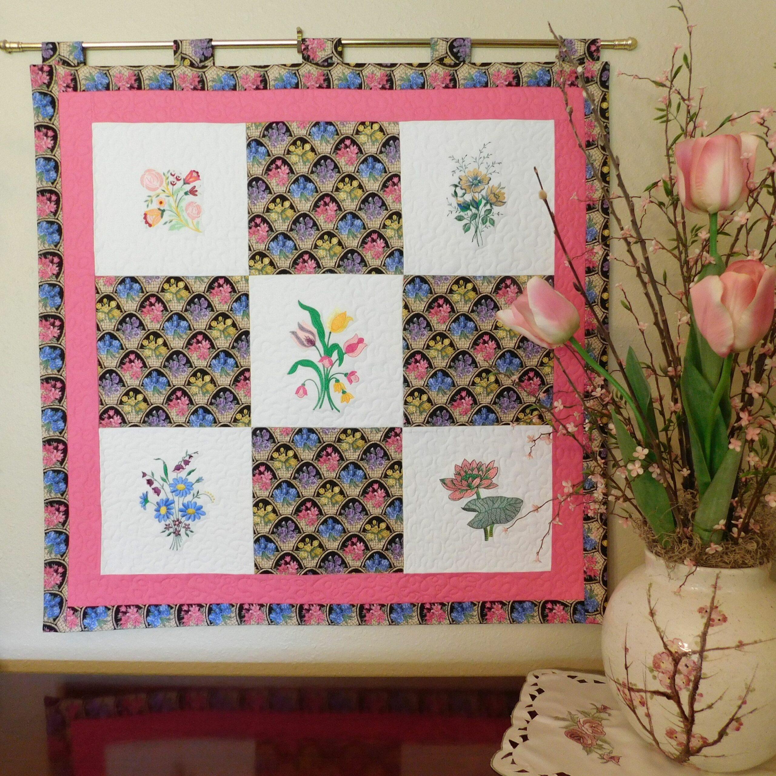 Home Decor Quilted Wall Hanging, Floral Design, Fabric Wall Decor ...
