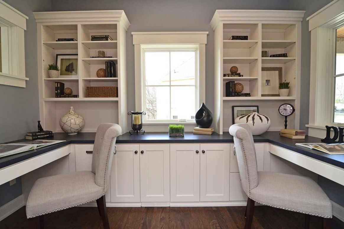 Home Office Cabinetry Design Built In Desk Using Kitchen Cabinets ...