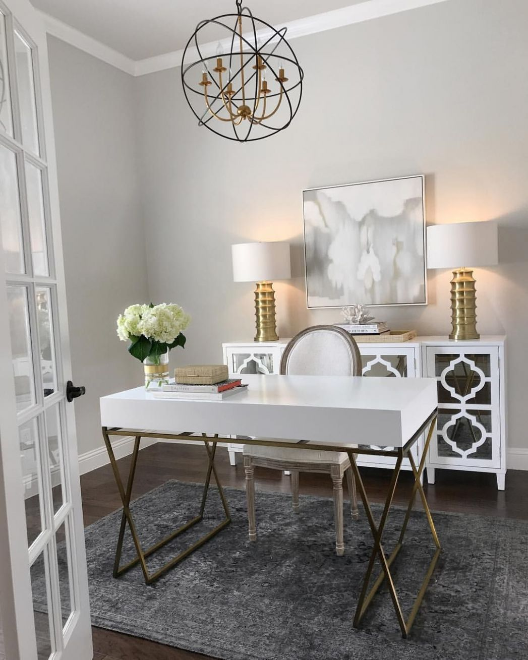Home office inspiration, white and gold desk, white mirrored ..