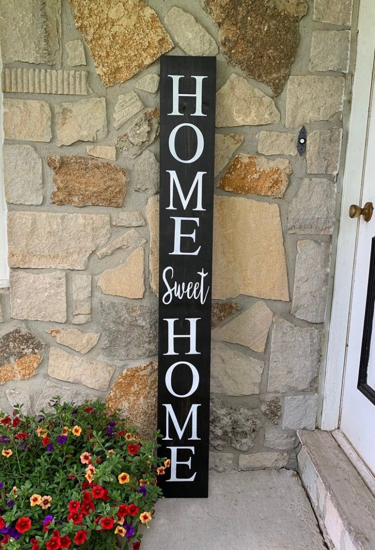 Home Sweet Home Front Porch Sign | Front Porch Decor | Entryway Sign |  Housewarming Gift | Porch Leaner | Gifts for her | Mother's Day Gift - front porch decor etsy