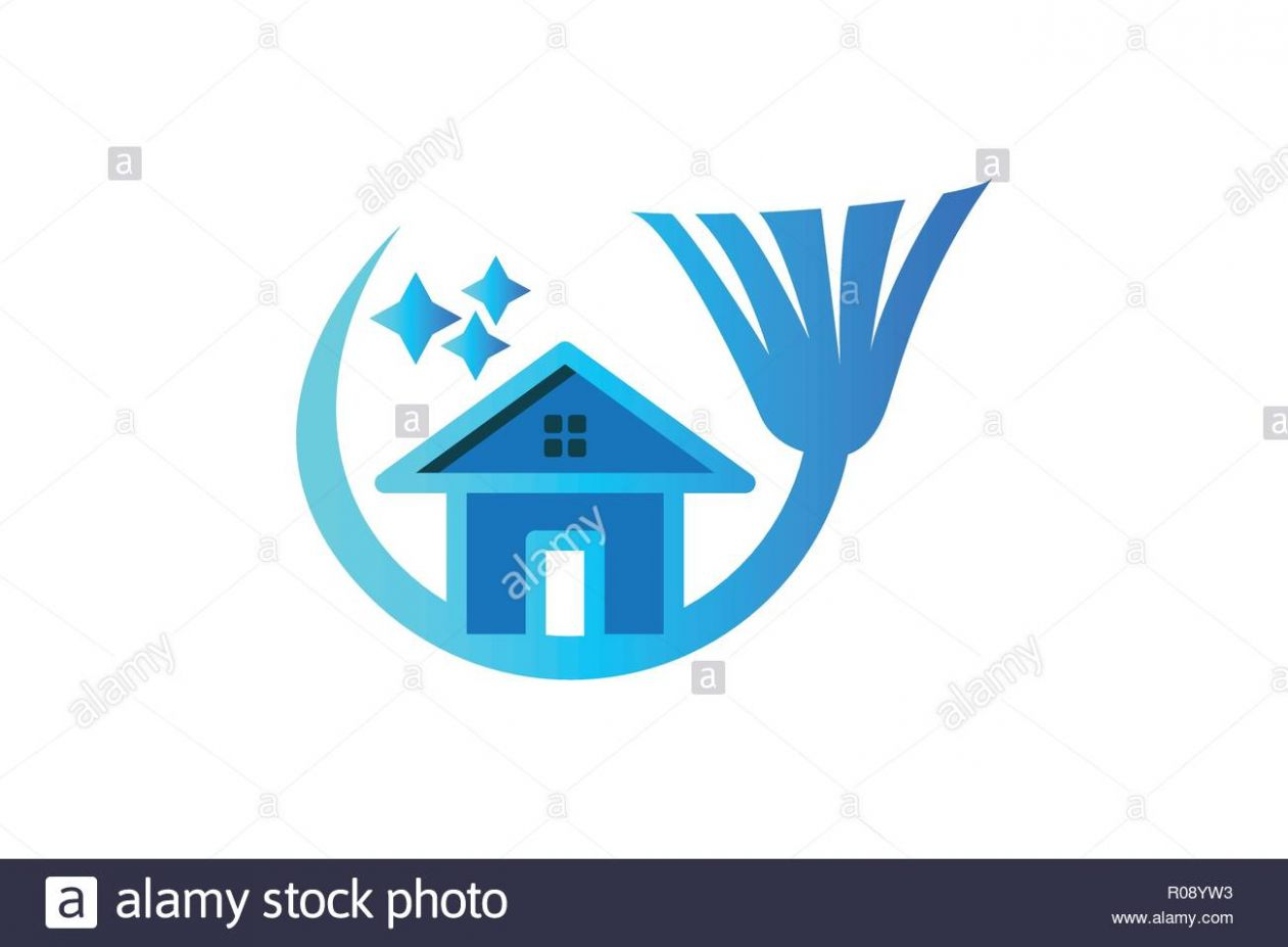 house, broom, Cleaning logo Designs Inspiration Isolated on White ...