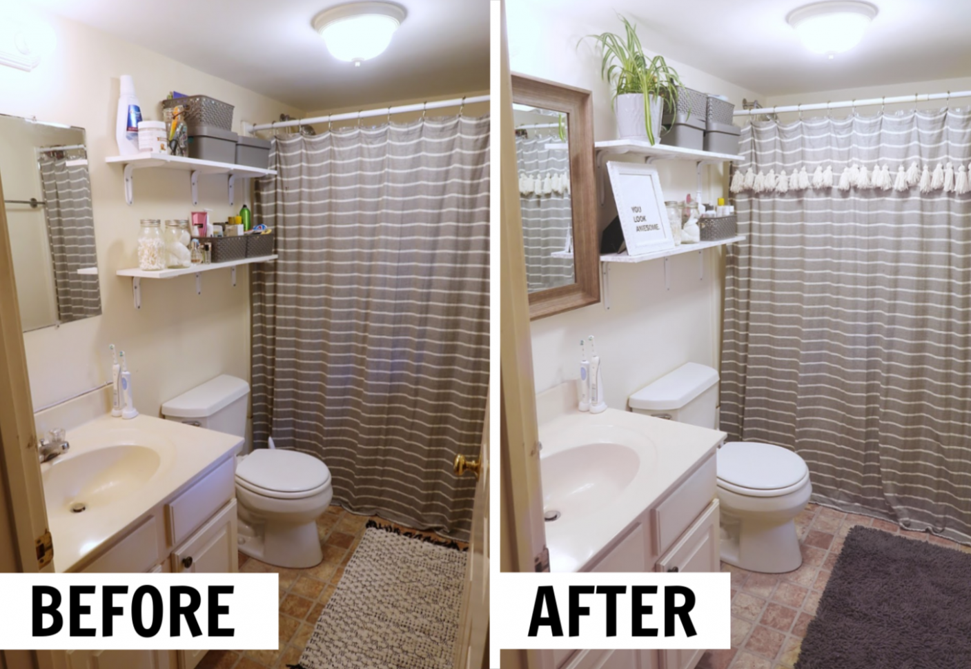How to Decorate a Rental Bathroom | $9 Bathroom Makeover - bathroom ideas rental