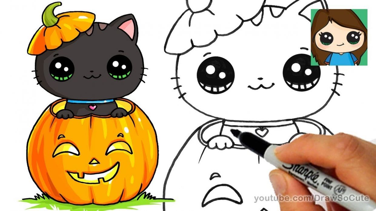 How to Draw a Kitten for Halloween Easy