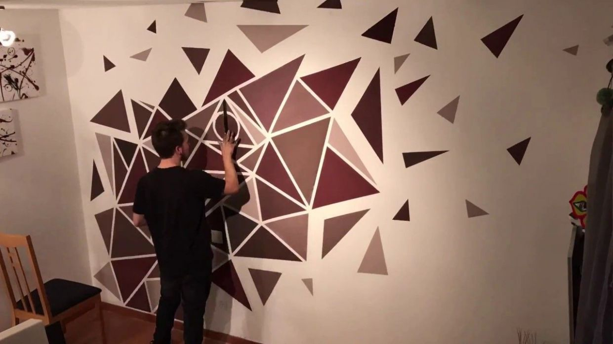 How to paint a PERFECT geometric wall! (EASY PAINTING) - YouTube ...