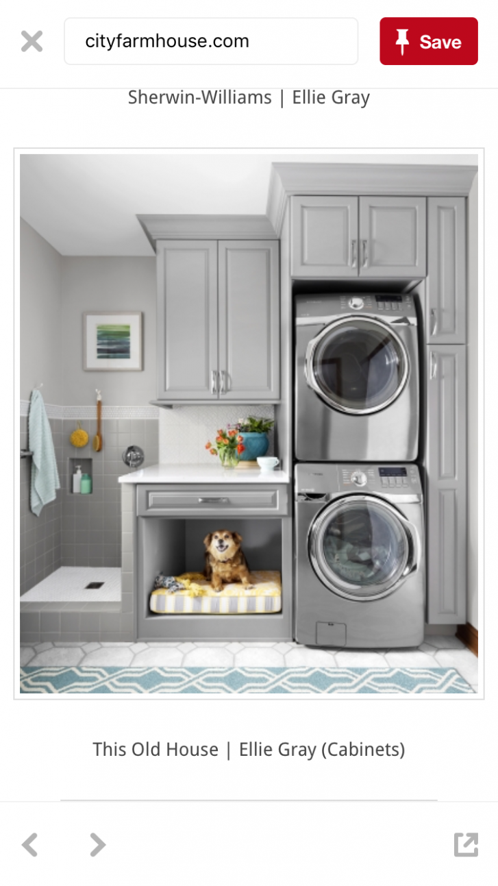 I like the cabinet on bottom for laundry and cabinet up top for ..