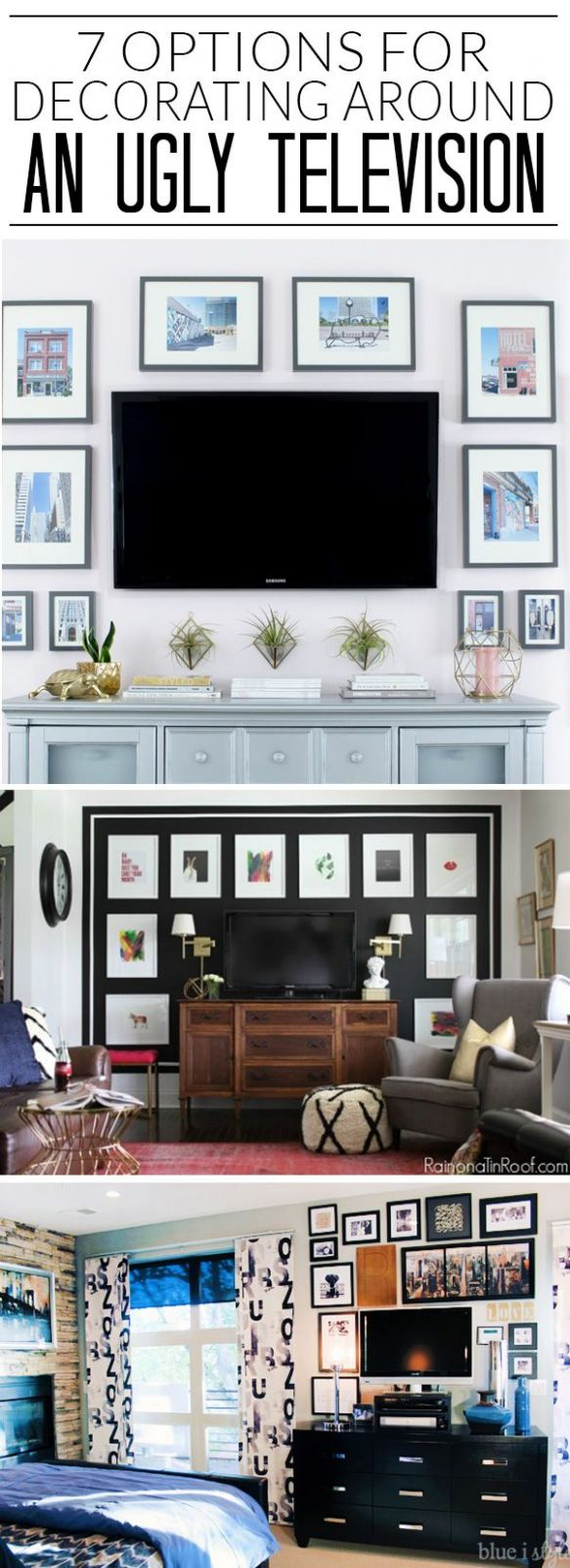 I never know how to decorate around the TV, but I'm loving all 10 ...