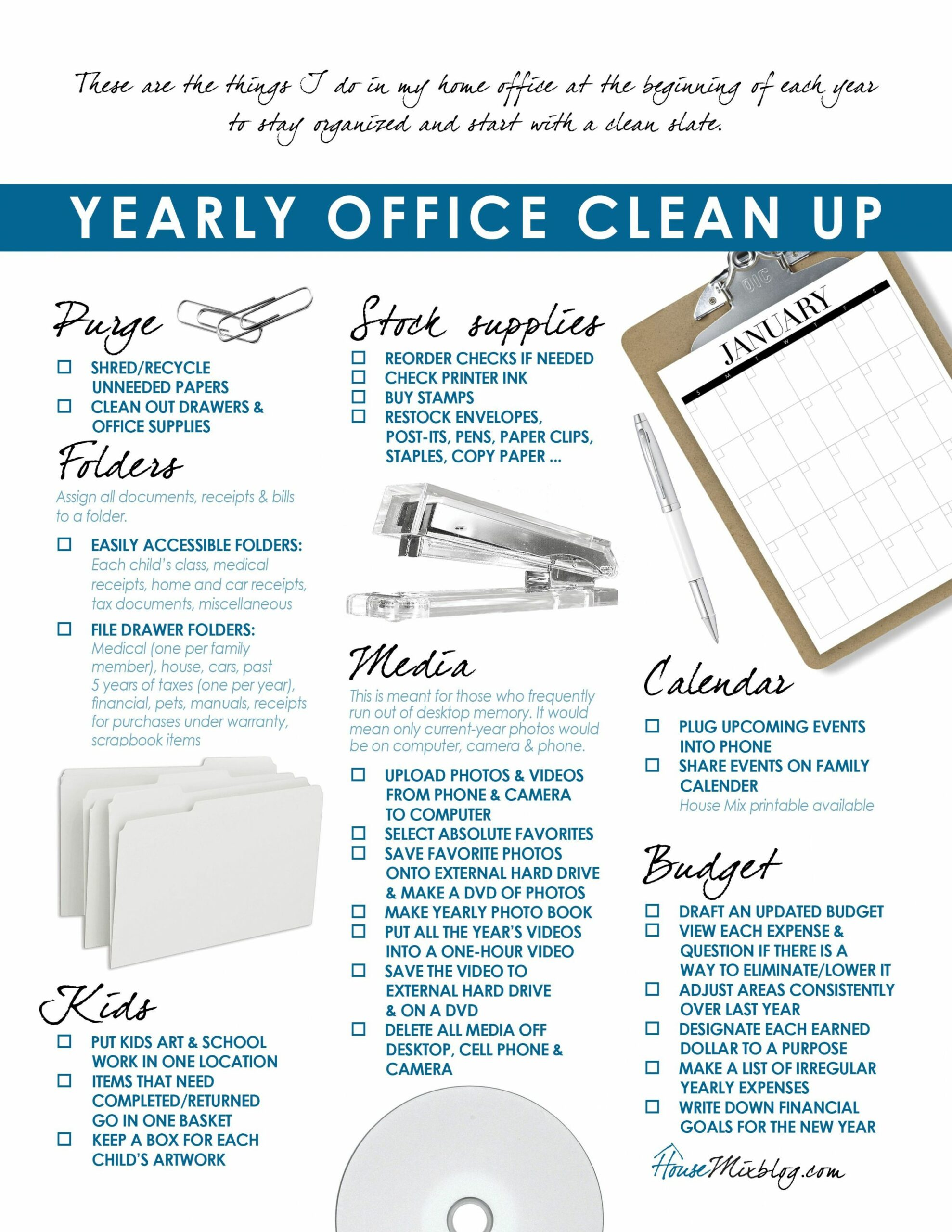 Ideas to organize your home office & budget | Clean office, Home ...