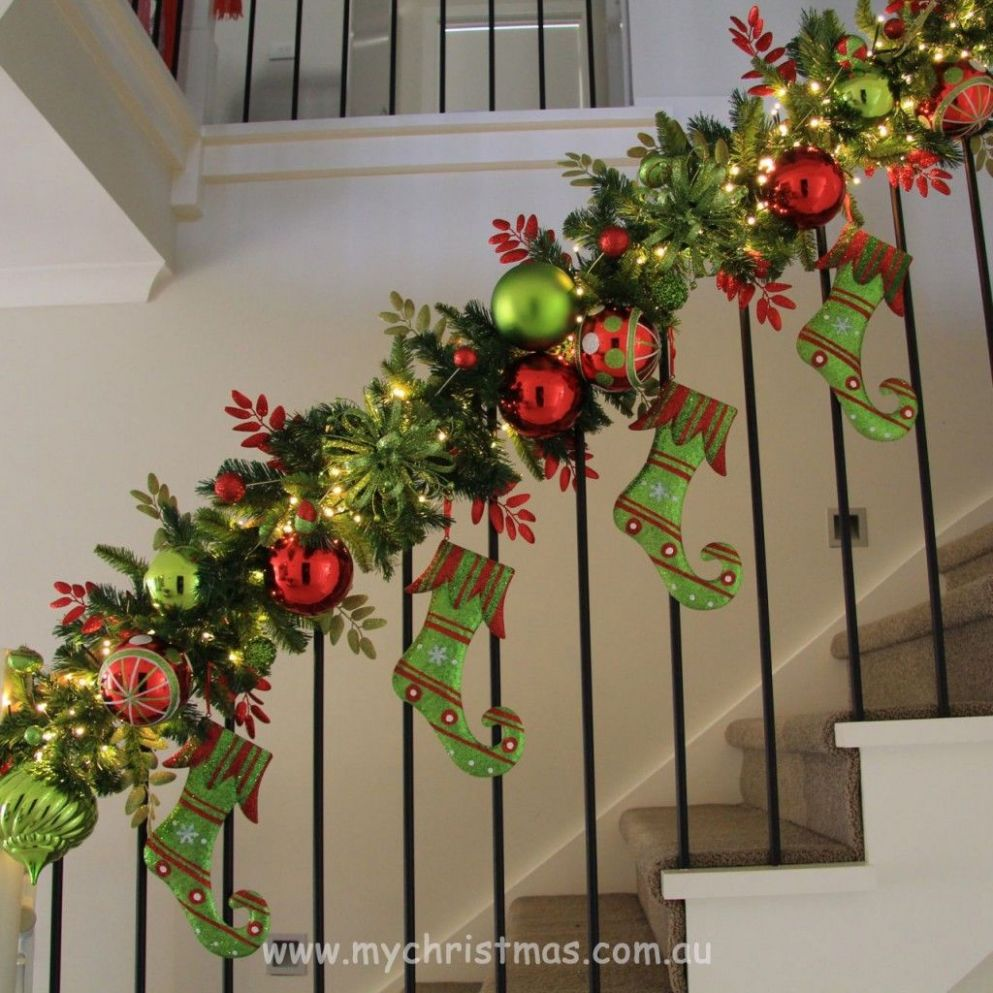 Image result for christmas window garland | Christmas stairs ..