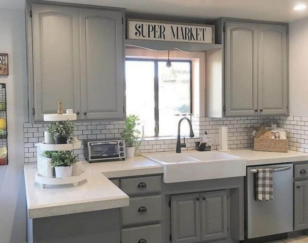 Incredible Farmhouse Grey Kitchen Cabinet Design Ideas (11 ..