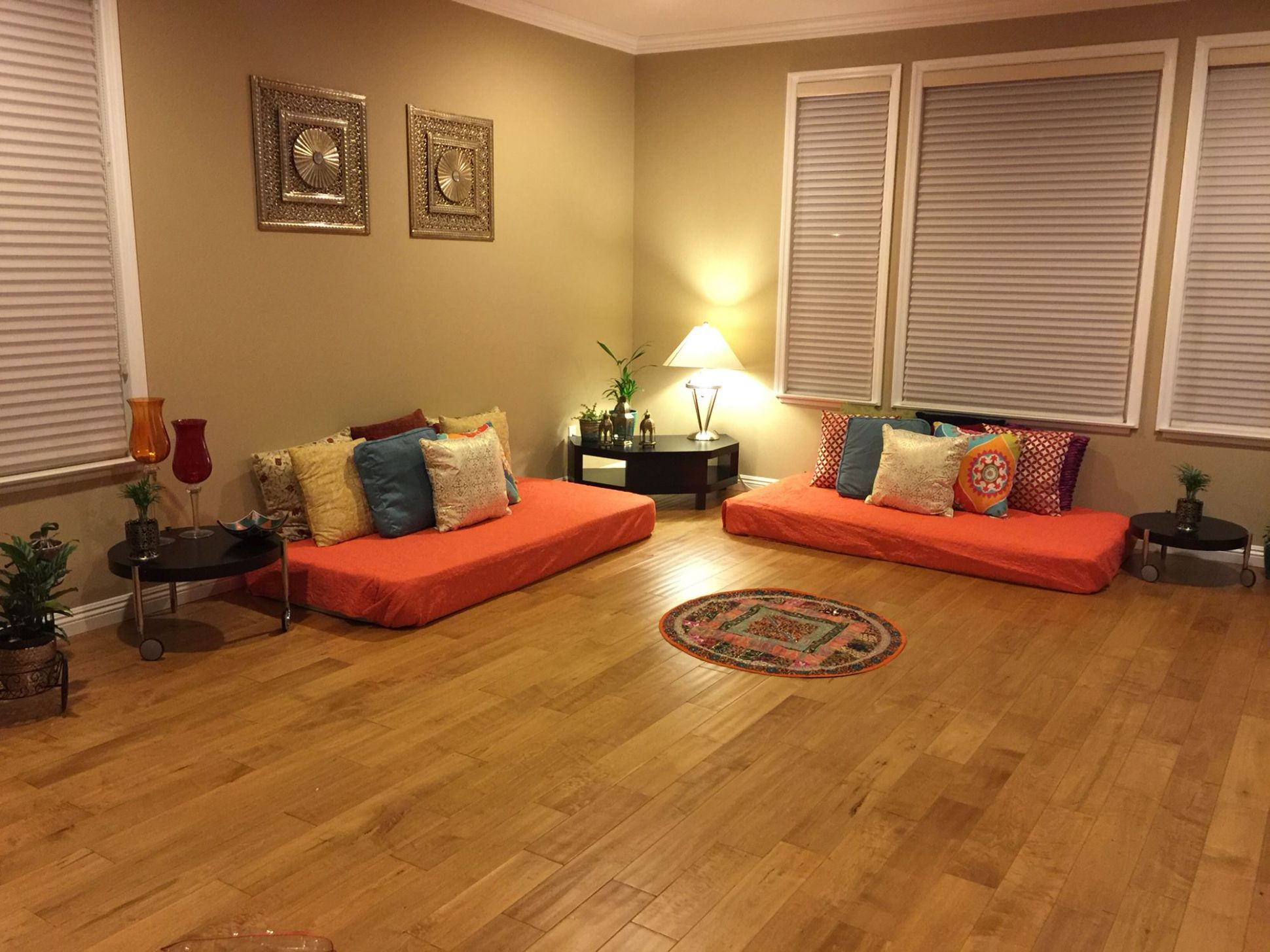Indian inspired living room … (With images) | Floor seating living ..