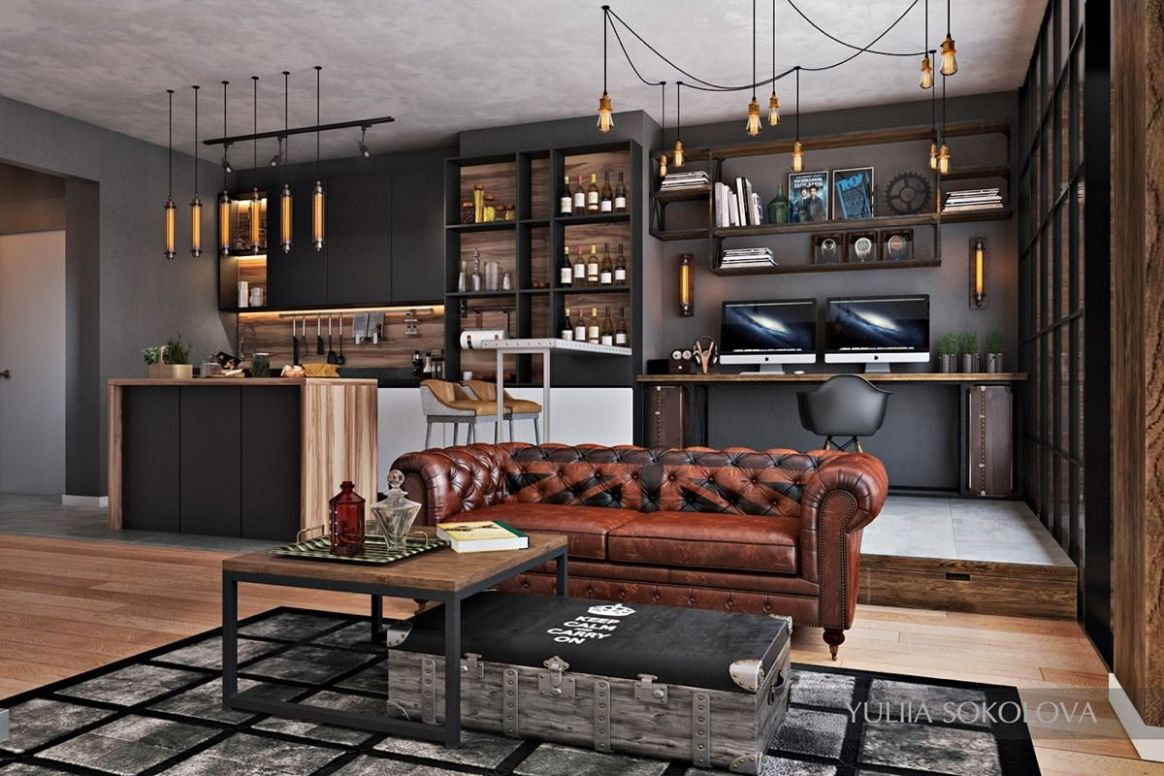 Industrial Style - 11 Modern Bachelor Apartment Design Ideas ..