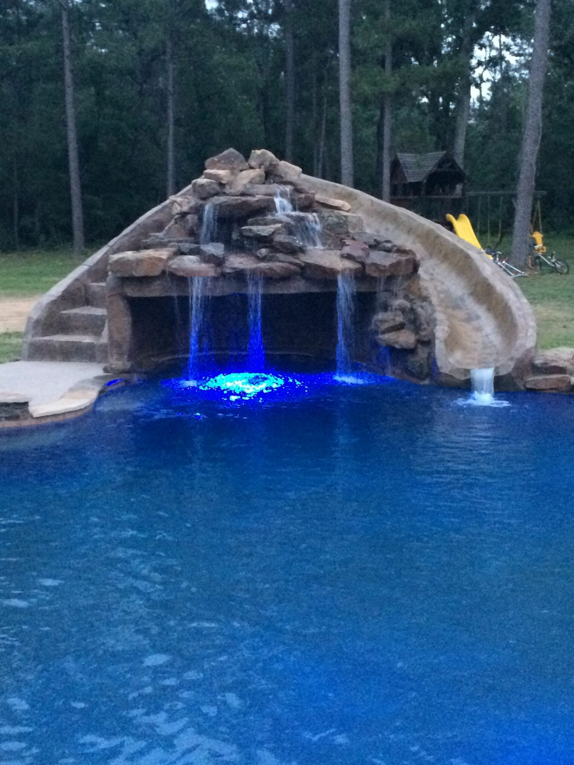 Inground swimming pool/slide/grotto/LED Lights (With images ..