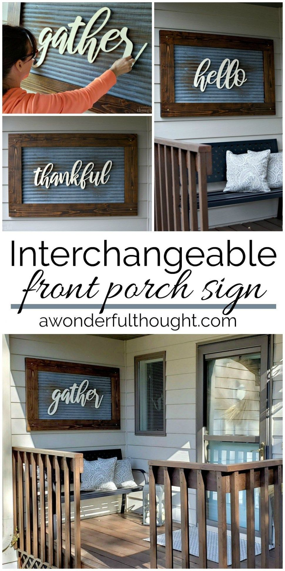 Interchangeable Front Porch Sign (With images) | Diy front porch ..