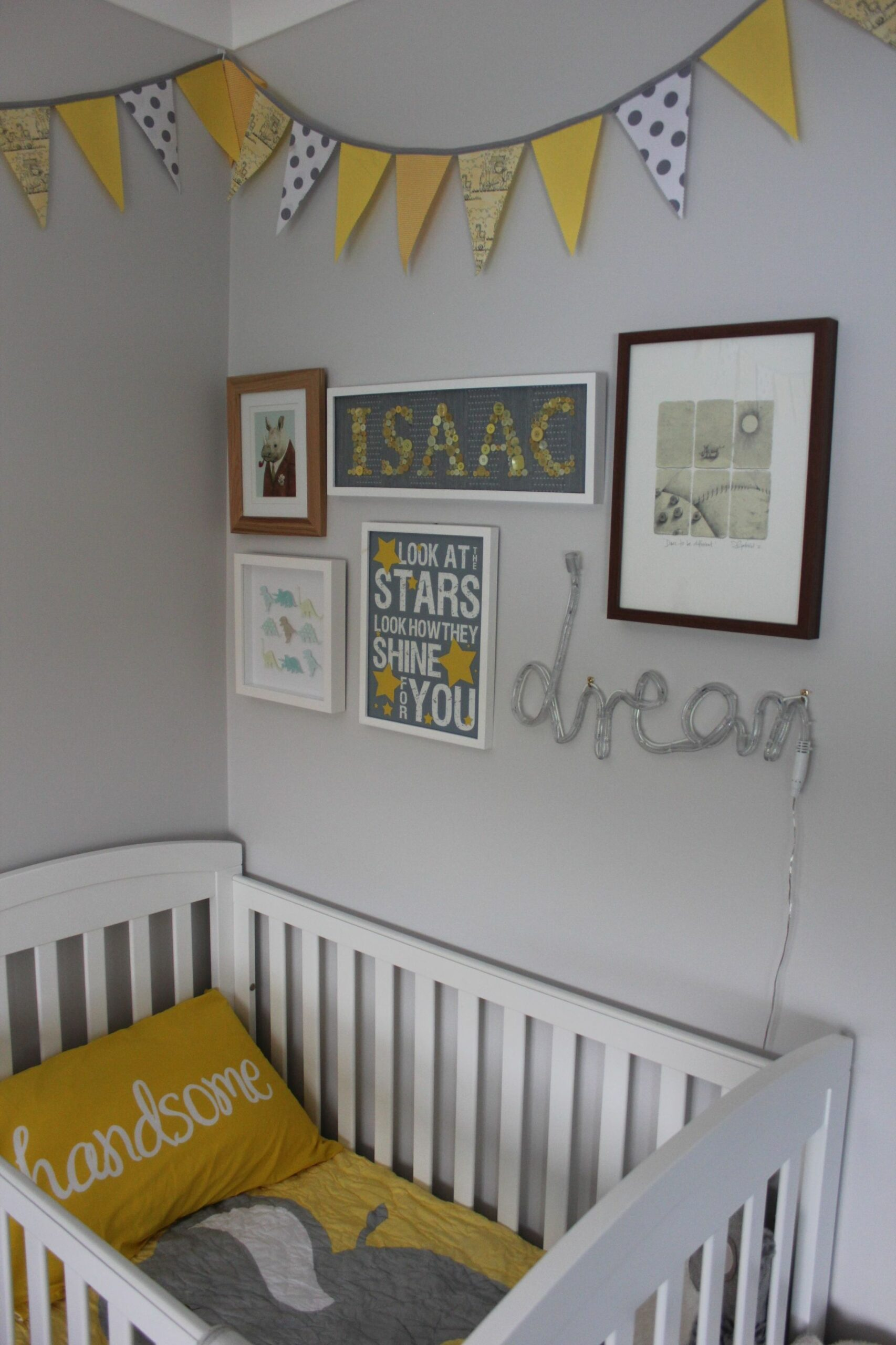 Isaac's nursery. Yellow - grey - bunting - handsome. (With images ...