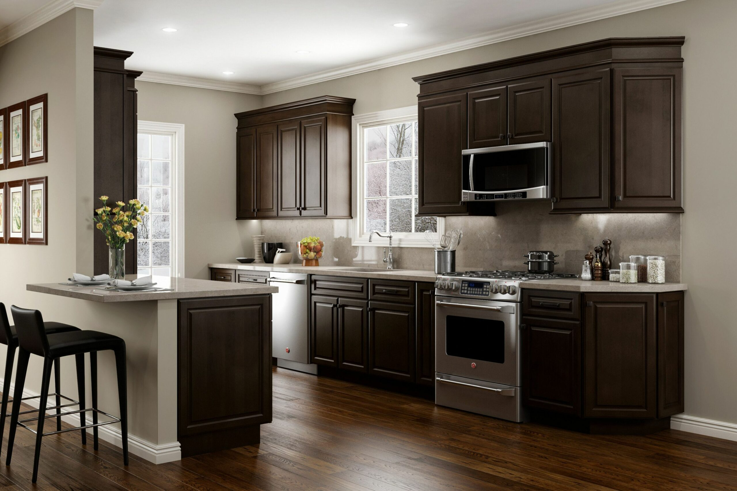 JSI Cabinetry Quincy Espresso Kitchen | Brown kitchen cabinets ...
