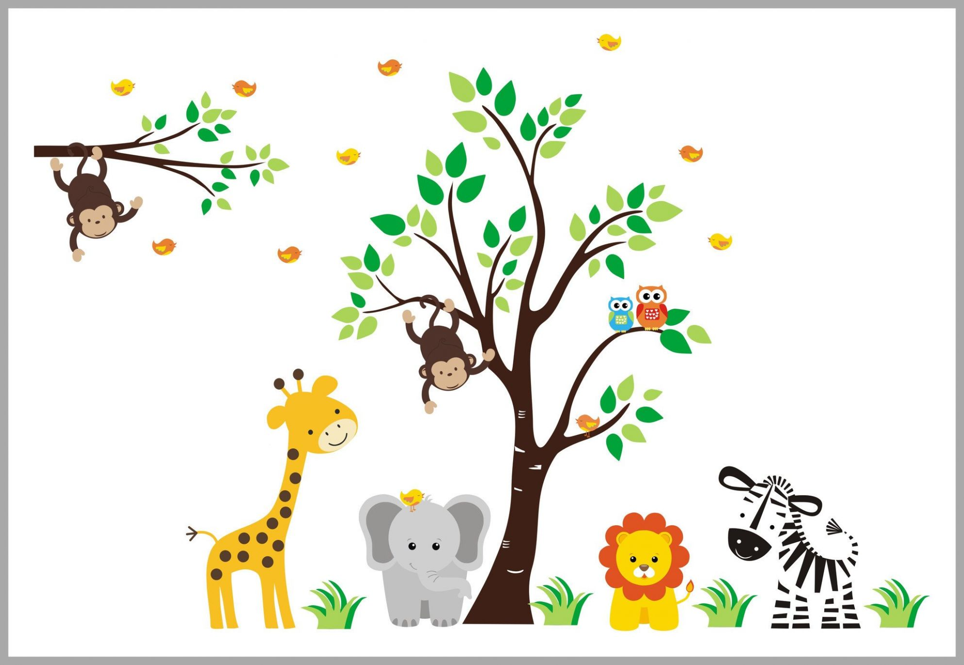 Jungle Theme Fabric Wall Decals - Baby Boys or Girl's Wall Decor -  Children's Wall Art - Baby Room