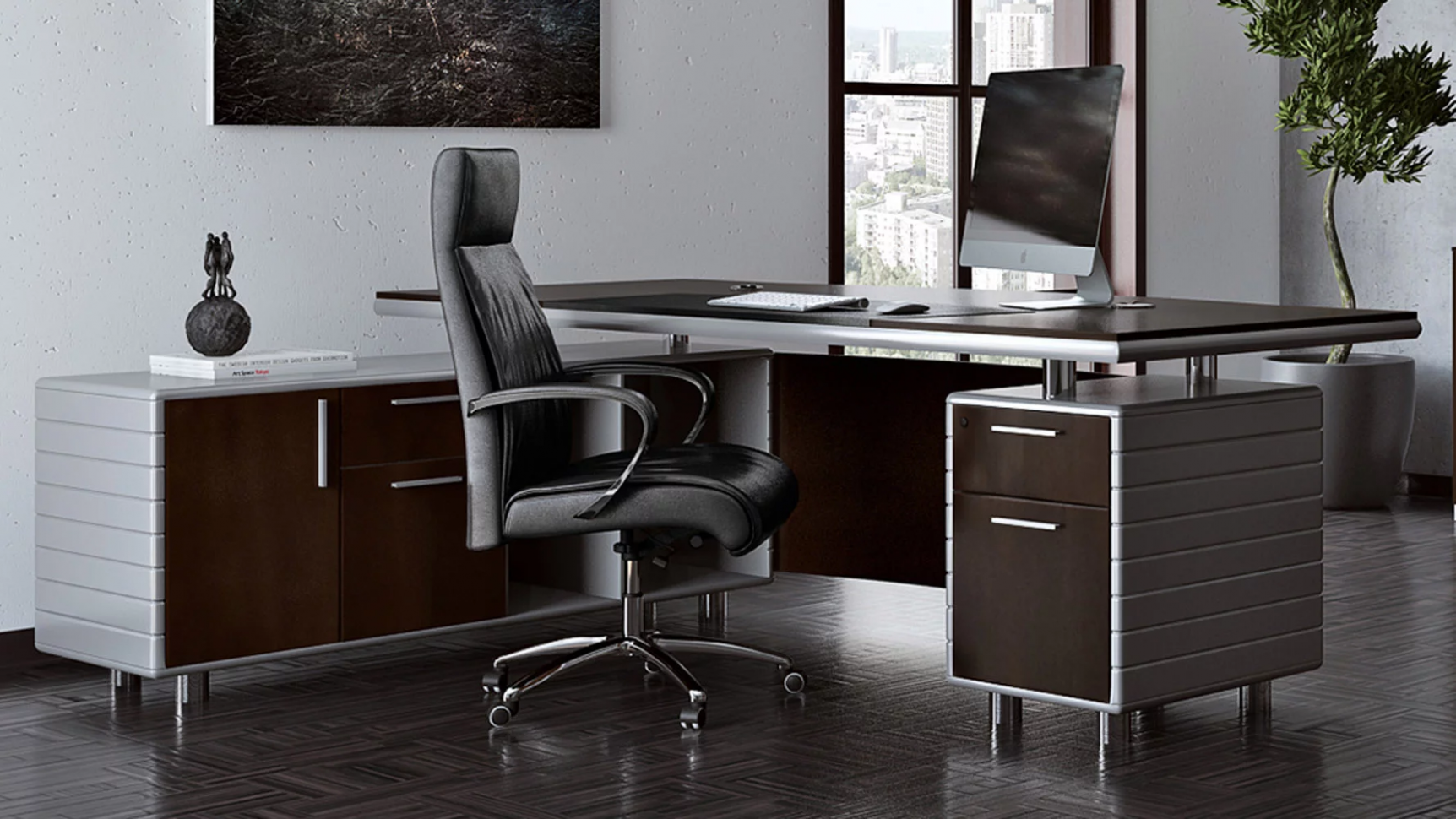 Kennedy Desk with Return - Dark (With images) | Home office ..