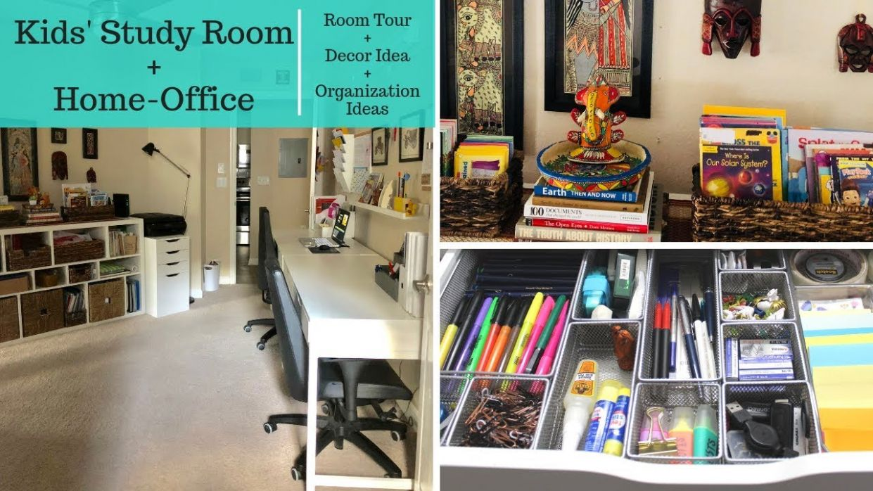 Kids' Study Room and Home Office Organization & Decor Tour