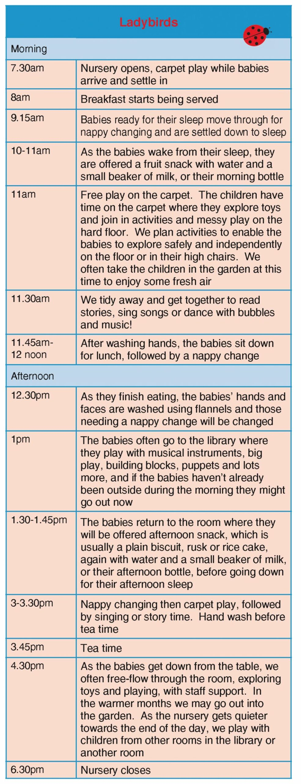 Ladybirds Daily Routine - Bumpkins Day Nursery - baby room routine