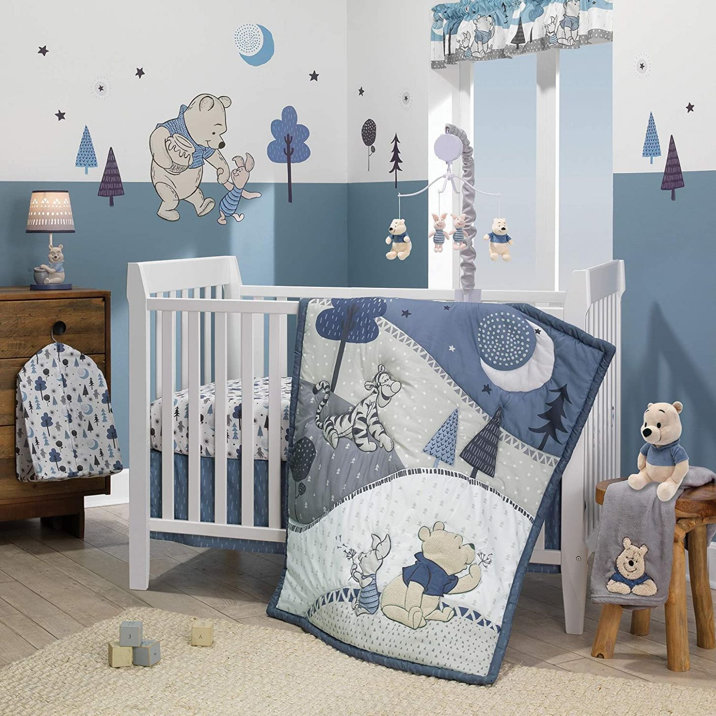 Lambs & Ivy Forever Pooh 9Piece Baby Crib Bedding Set, Blue ...