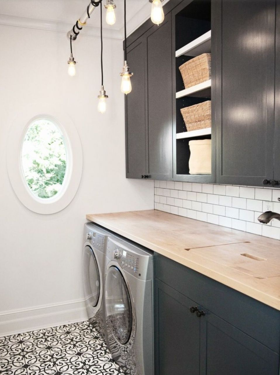 laundry room: dark cabinets, counter w/sink cover | Modern laundry ..