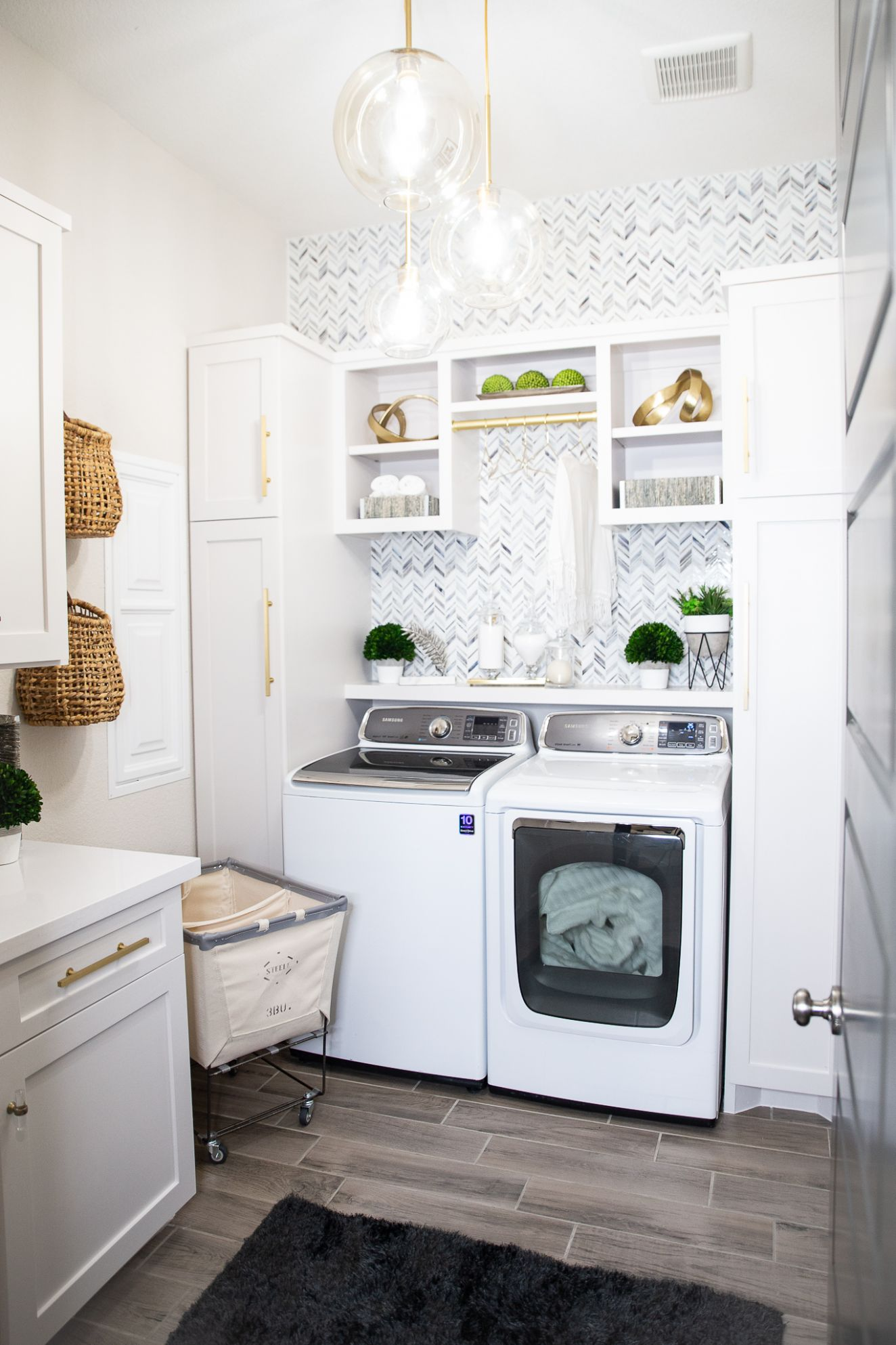 Laundry Room Makeover: Built-In Top Loader Washer and Dryer ...