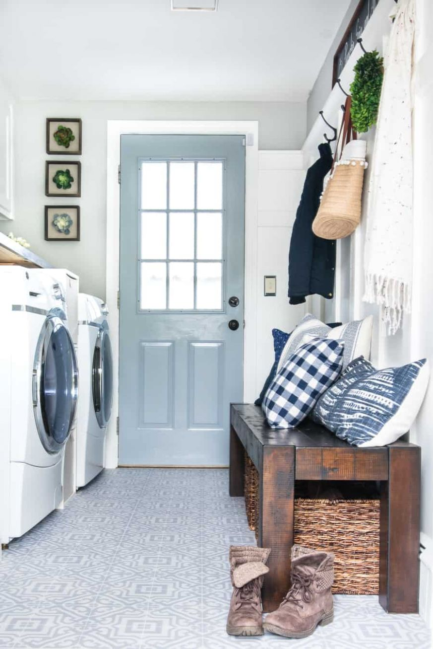 Laundry Room Makeover Reveal - Jenna Kate at Home - laundry room entrance ideas