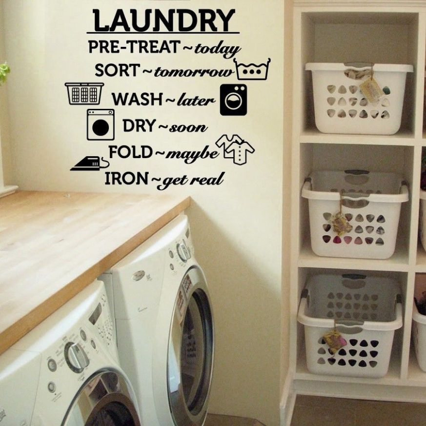 Laundry Room Vinyl Wall Decal Wash Dry Fold Iron Quote Wall Sticker Laundry  Room Decoration Wall Mural Removable Wallpaper AY10