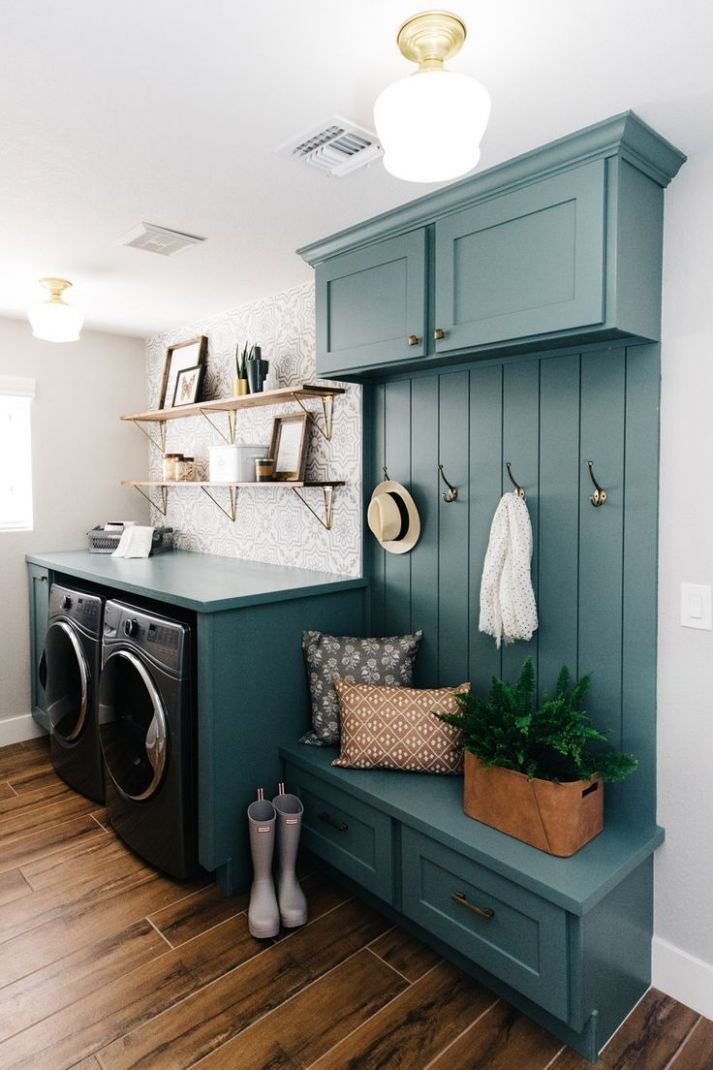 Laundry room with bench and coat rack #laundry #bluecabinets (With ..