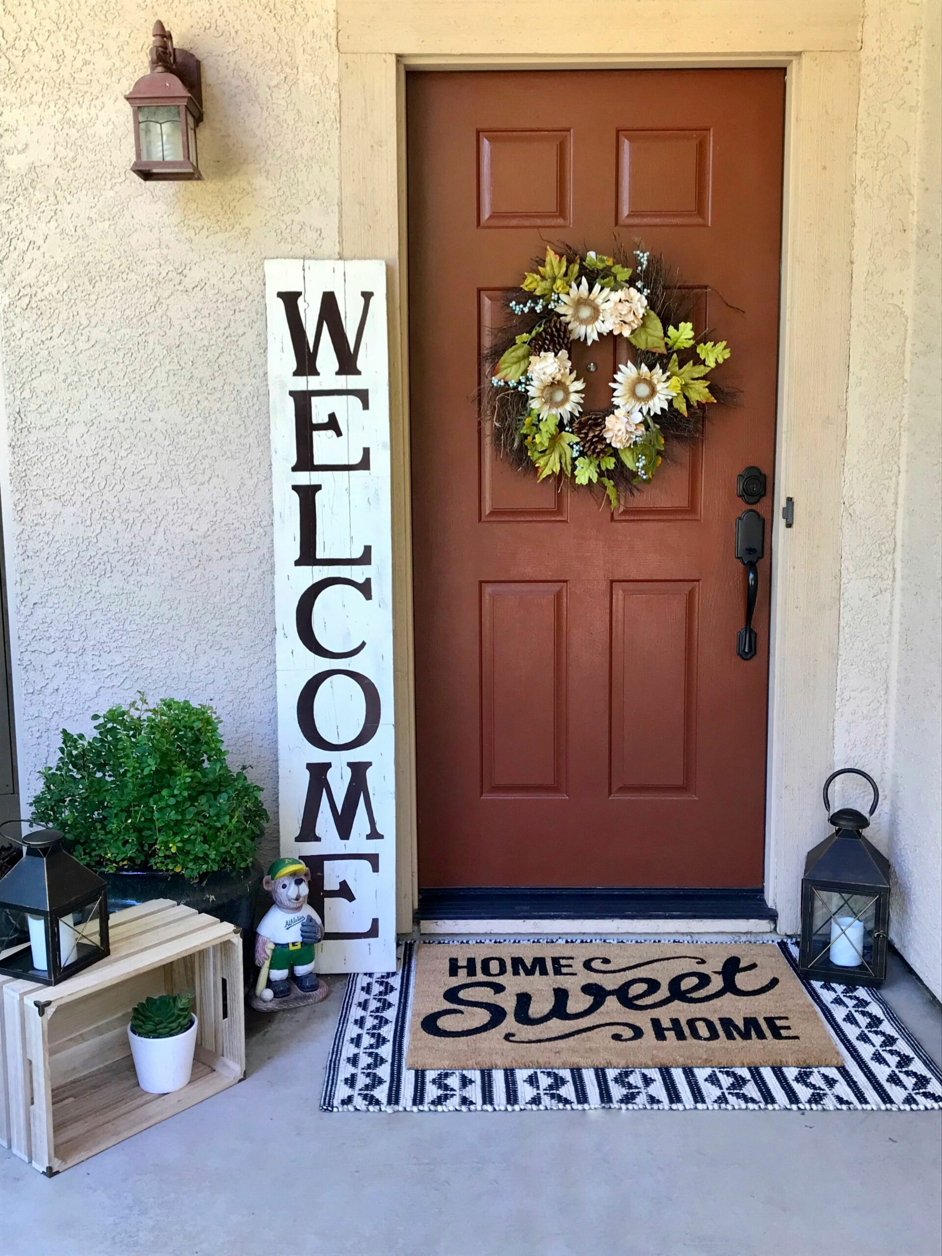 Layered doormat on front porch. Doormats from Target. Welcome sign ...
