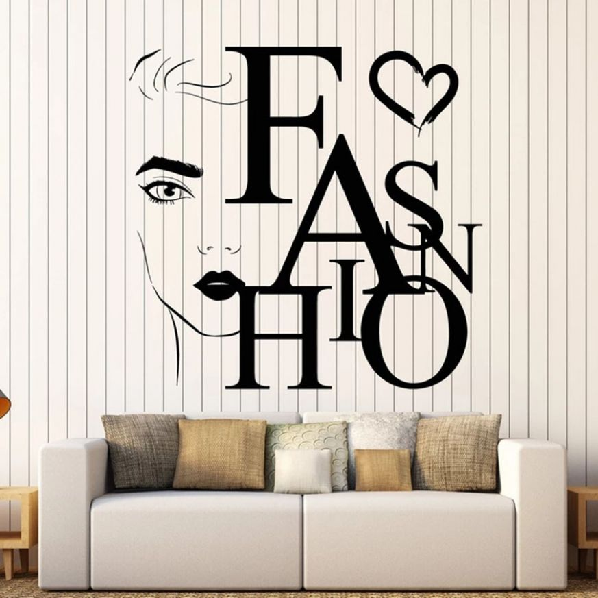 Lettering Wall Decal Beauty Fashion Word Girl Face Salon Makeup ...