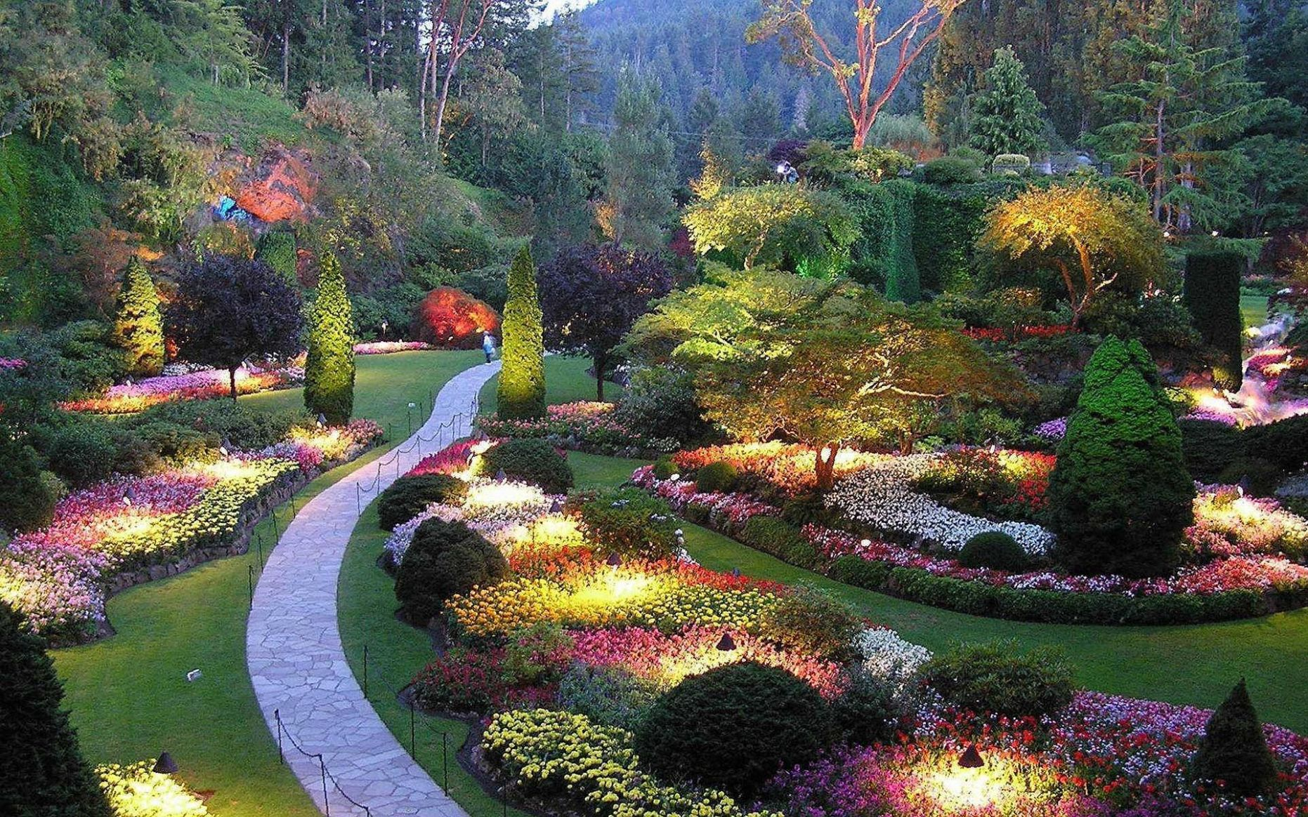 Lighting, Flower, Butchart, Gardens, Victoria, British Columbia ...
