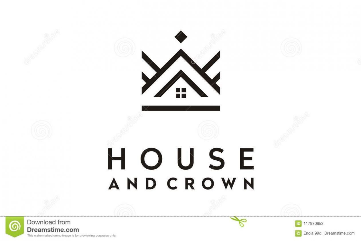 Line Art Crown And House Logo Design Inspiration Stock ..