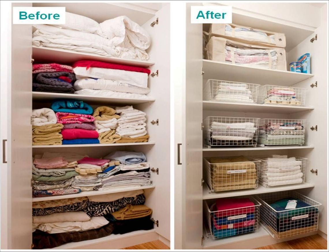 Linen Cupboard make-over. Like the idea of pull-out runner baskets ..