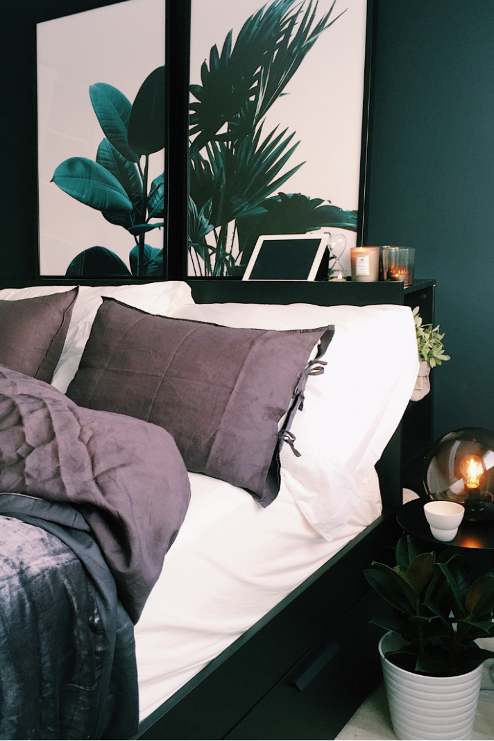 Living for this dark green themed bedroom with lovely room decor ..